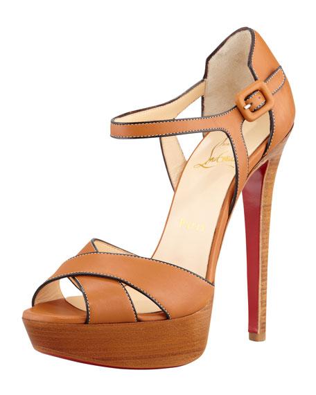 Sporting Buckle Ankle-Wrap Platform Sandal, Fauve