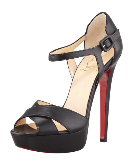 Sporting Buckle Ankle-Wrap Red Sole Sandal, Black