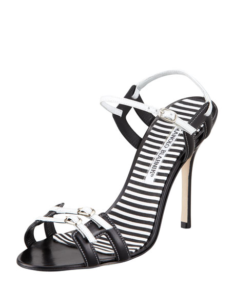 Chapi Double-Buckle Sandal, Black/White