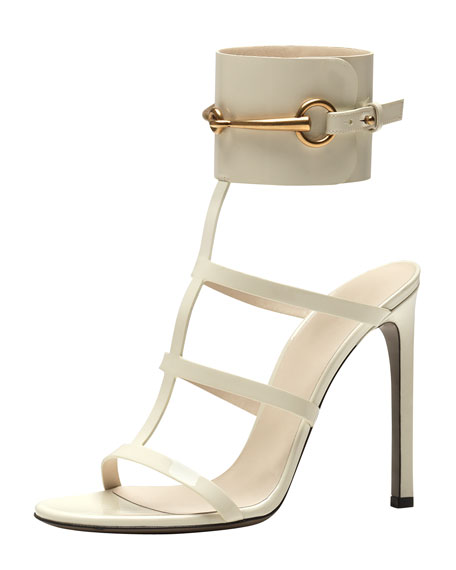 Patent Ankle-Wrap Cage T-Strap Sandal, Mystic White