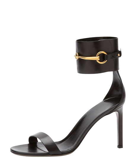 Horsebit Leather Ankle-Wrap Sandal, Black