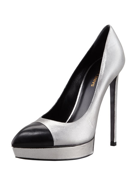 Janis Metallic Platform Pump, Gray/Black