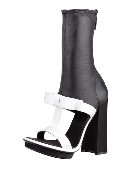 Leather Ankle Strap Satinamp; Boot Sandal T Blackwhite WH29eDIYE