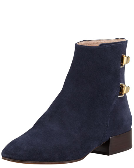 Double-Buckle Suede Ankle Boot, Blue