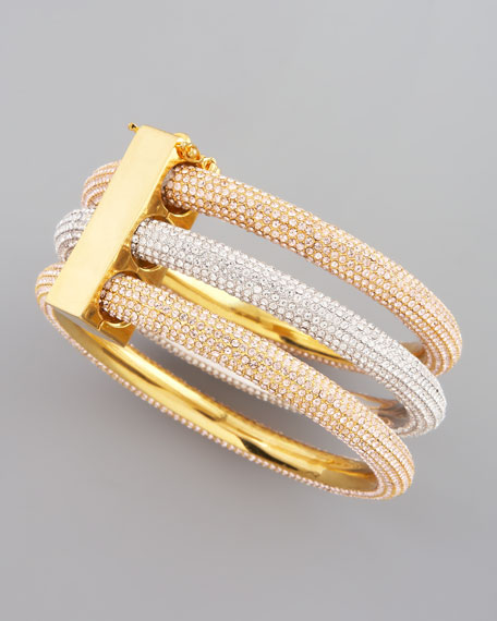 Two-Tone Pave Bangles, Set of 3