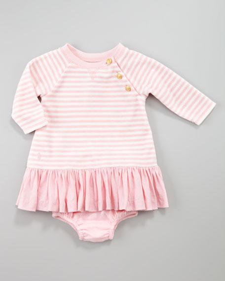 Striped Velour Dress, 3-9 Months