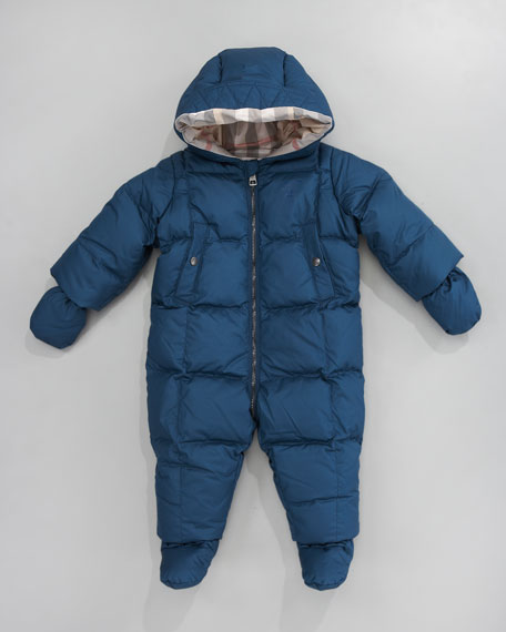 Hooded Snowsuit with Snap-On Mittens & Booties, Mallard Blue