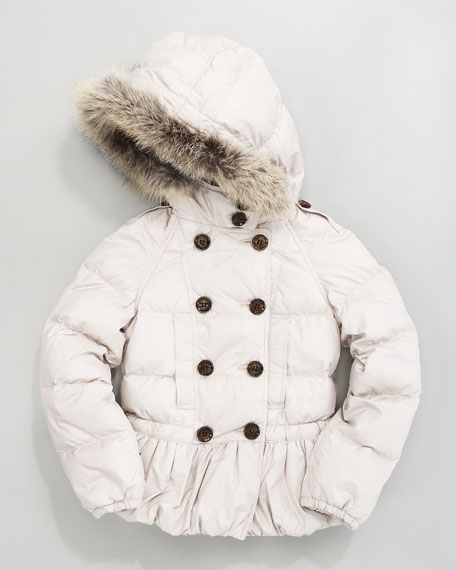 Fox-Trim Puffer Jacket