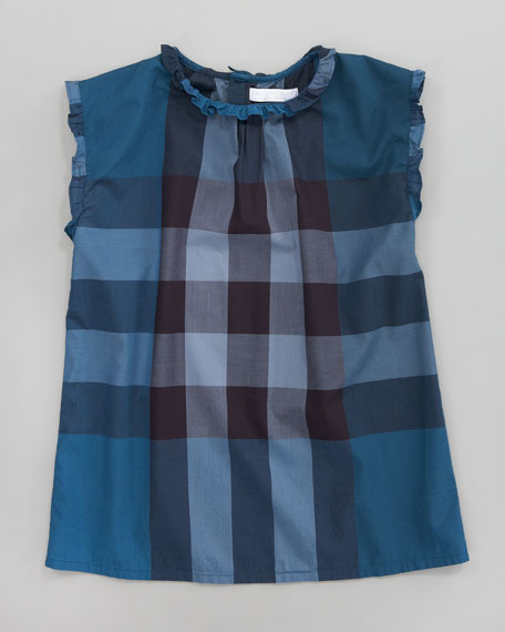 Giant Exploded Check Blouse, Petrol Blue