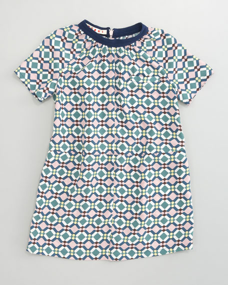 Short-Sleeve Geometric Print Dress, Sizes 8-10