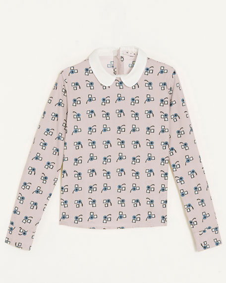 Collared Print Shirt, Sizes 8-10
