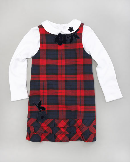 Plaid Dress & Tee Set, 12-24 Months