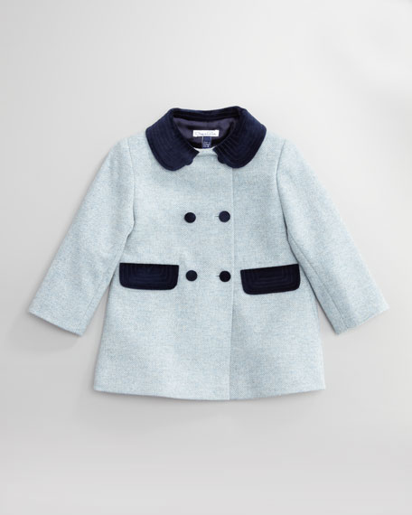 Velvet-Trim Tweed Coat, Girl's