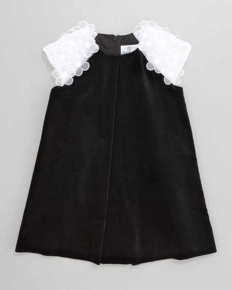 Floral-Shoulder Velvet Dress, 12-24 Months