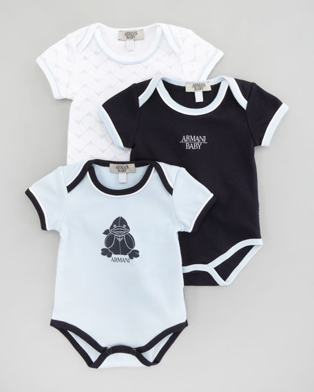 Set of 3 Boys' Bodysuits, Deep Sky