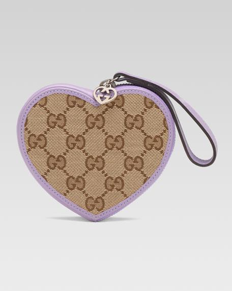Girls' Micro Guccissima Heart Wristlet, Beige Ebony/Glicine