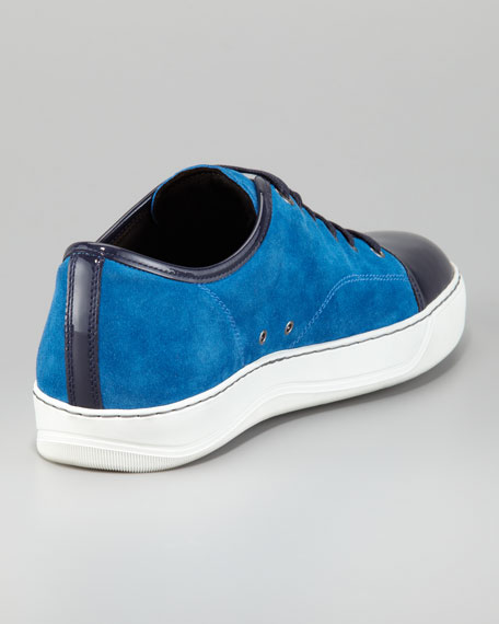 Suede-Patent Leather Trainer