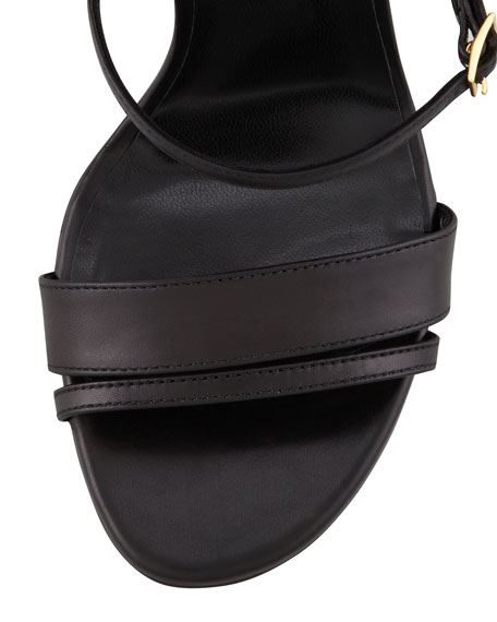 Leather Mary Jane Ankle-Plate Sandal