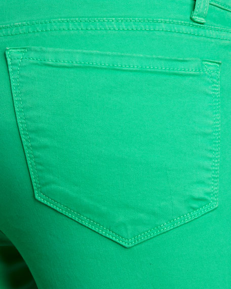 811 Mid-Rise Skinny Twill Jeans, Bright Green
