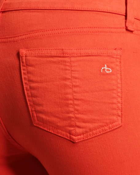 Zipper Bright Orange Capri Jeans