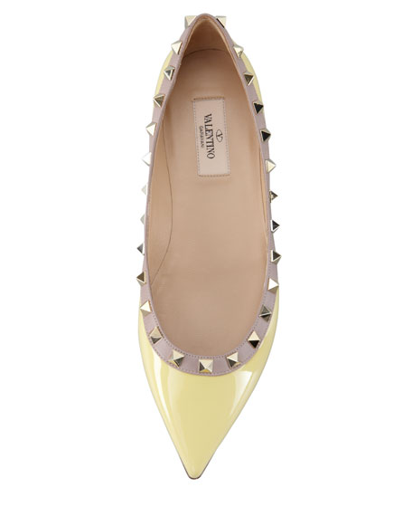 Rockstud Leather Ballerina Flat, Yellow