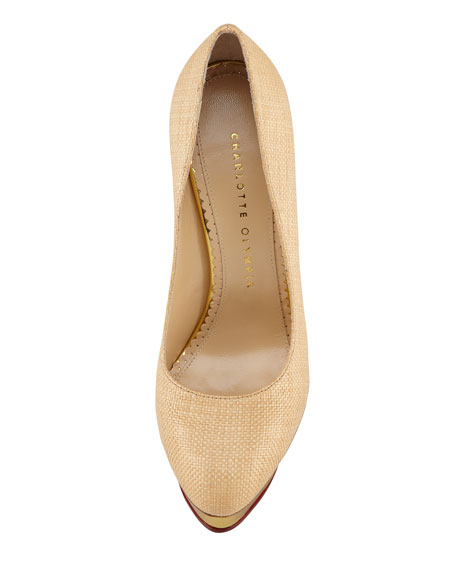 Dolly Raffia Pump, Natural