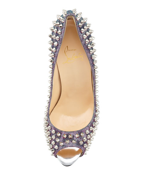 Lady Peep Spikes Metallic Red Sole Pump, Turquoise/Violet