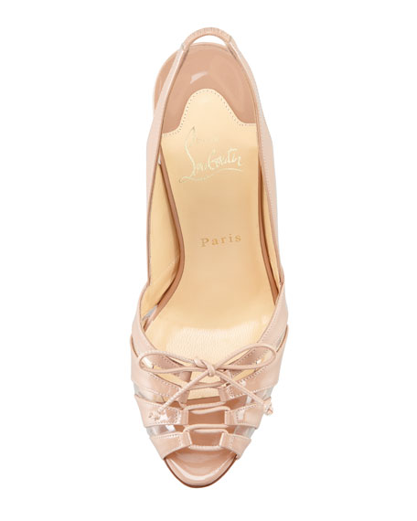 Corsetica Patent Leather/PVC Slingback Red Sole Sandal, Nude