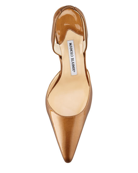 Carolyne Patent Mid-Heel Halter, Gold