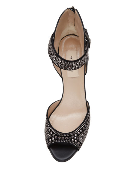 Microstudded Ankle-Wrap Sandal, Black