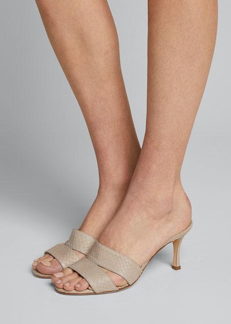 Iacopo Snakeskin Slide Sandals