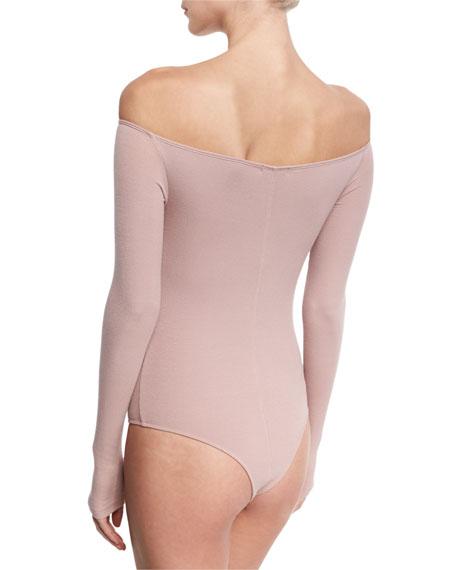 Off-the-Shoulder Long-Sleeve Bodysuit