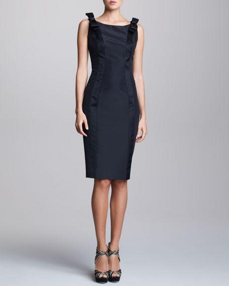 Sleeveless Bow-Shoulder Satin Dress