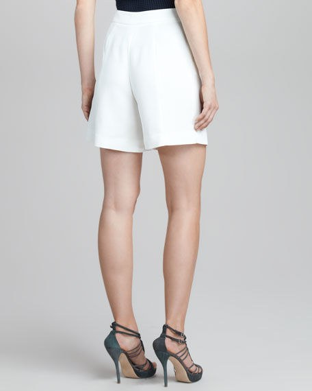 Pleated Snap-Closure Shorts