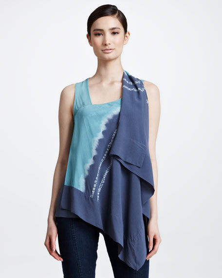 Cascading Tie-Dye Scarf Top, Aquamint
