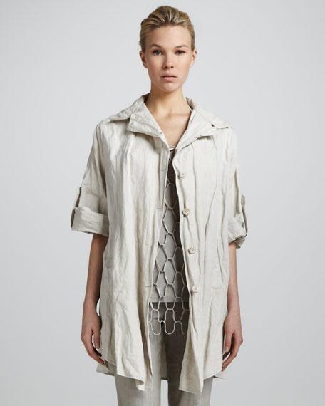 Rolled-Sleeve Tunic Jacket, Sand