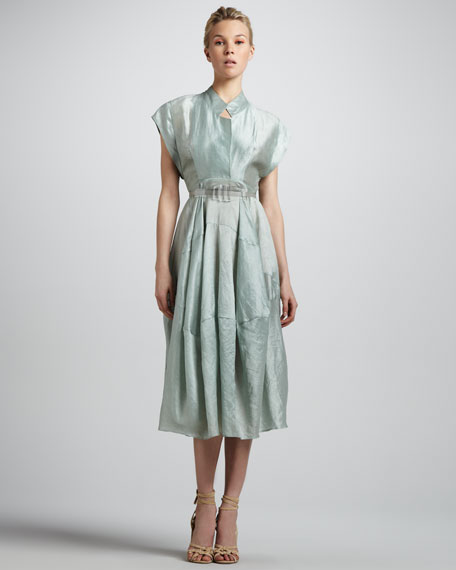 Sea Glass Belted Silk Dress