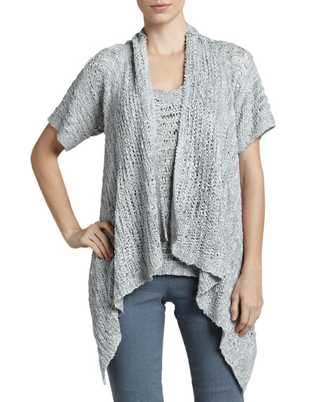 Drape-Front Silk Cardigan, Oyster
