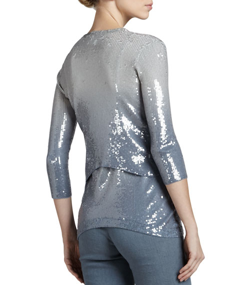 Ombre Sequined Cashmere Jacket, Tempest
