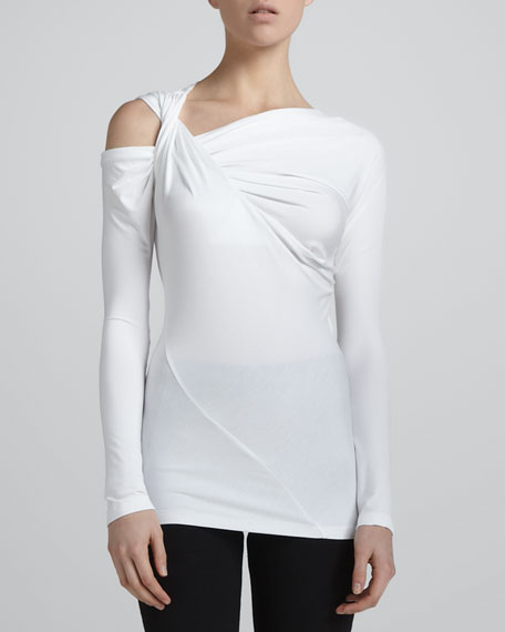 Cold-Shoulder Long-Sleeve Twisted Top, Zinc