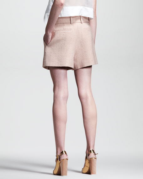 Rustic Pleated Silk Shorts