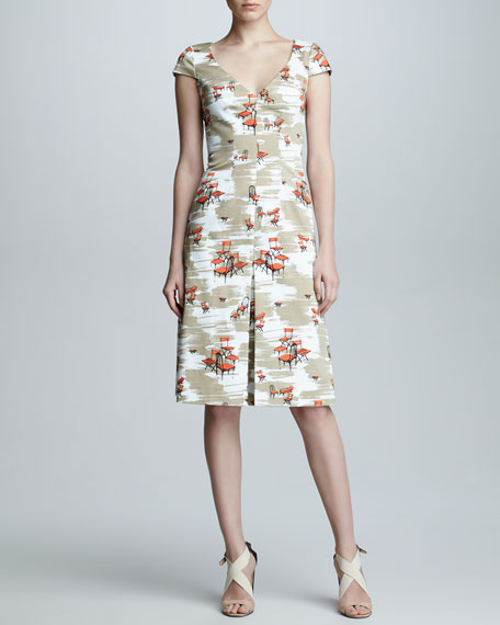 Chair-Print Cap-Sleeve Dress, Tan/White