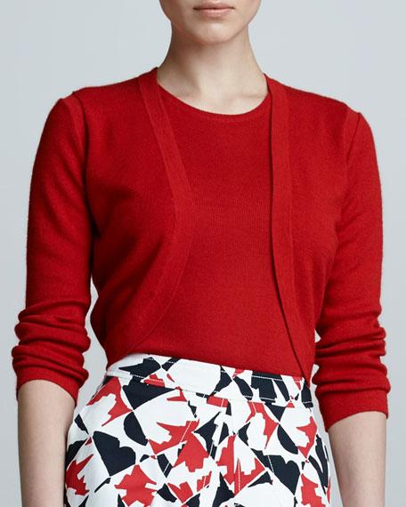Cropped Cashmere Blend Bolero, Mercury Red