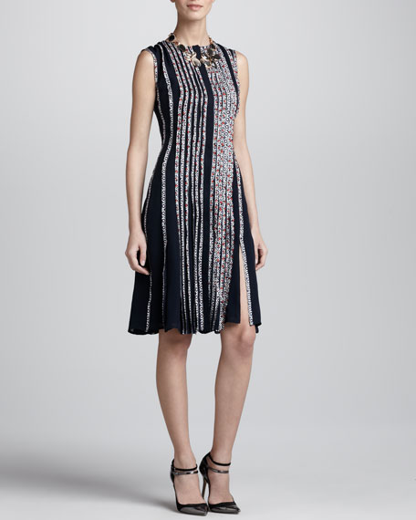 Sleeveless Floral-Strip Dress, Navy