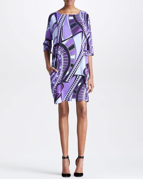 Half-Sleeve Printed Shift Dress