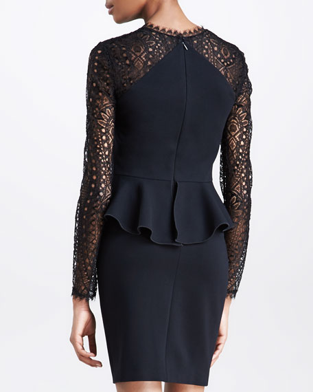 Punto Milano Peplum Lace-Yoke Dress