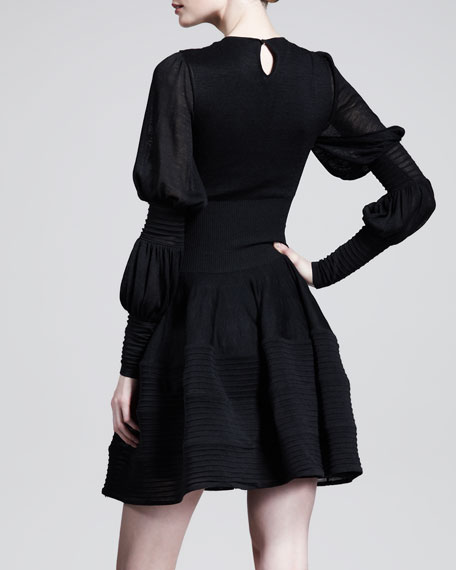 Double Puff-Sleeve Circle Dress