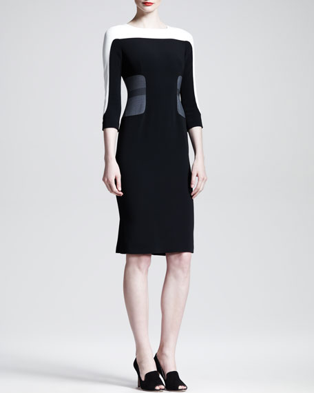 Tri-Tone Colorblock 3/4-Sleeve Dress