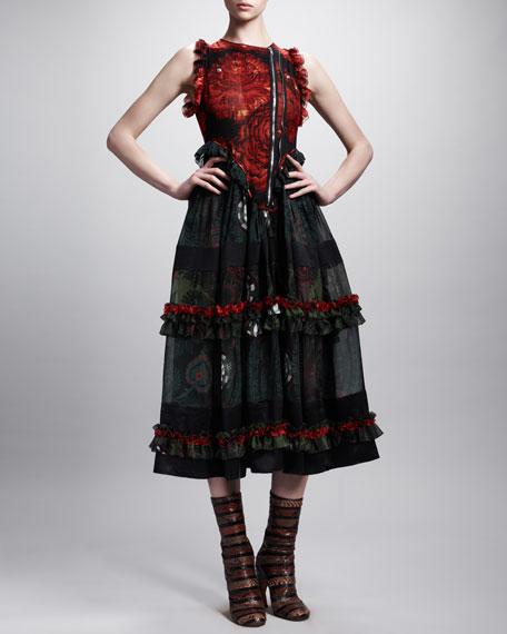 Printed Moto-Zip Tiered Dress