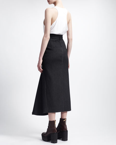 High-Waisted Long Pinstripe Skirt